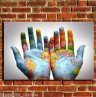 WORLD MAP IN HANDS COOL CANVAS WALL POP ART BOX PRINT PICTURE SMALL/MEDIUM/LARGE