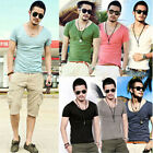 Faddish Mens Soft Touch Casual Tees Scoop Neck Sexy T Shirts Rolling Border ukfo