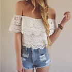 Fashion Women Sexy Crop Top Floral Lace Shirt Hollow Crochet T-shirts FO UK 09