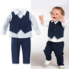 Baby Boys Cotton Shirt + Pants + Waistcoat Causal Clothes Outfits sets Suit 1-5Y