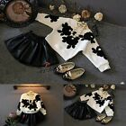 New Kids Baby Girls Clothing Long Sleeve Flower Blouse + Skirt Set Outfit 5-8Y