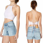 Wildbirds Women Girl Pink Cutaway Neckline Strappy Party Vintage Crop Top Shirt