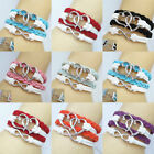 New DIY Lots Color Leather Cute Heart Infinity Charm Bracelet U pick For Couples