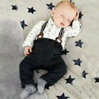 Cute Kids Baby Boys Toddler 2PCS Set T-shirt Top+Bib Pants Overall Outfits Set