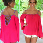 FO0B Spaghetti Strap Dress Loose Shirt Off Shoulder Sleeve Bandage Top UK0B Good
