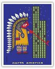 North America Chief Skyscraper Vintage Airline Travel Art Poster Print Giclee