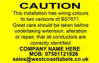 Electrical Safety Warning Labels - HARMONISATION TWO COLOUR - Personalised Free