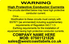 Electrical Warning Labels - CONDUCTOR CURRENT - Personalised Free 76mm x 50mm