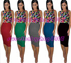 Womens Casual Sleeveless Floral Wiggle Pencil Knee Length Dress Bodycon