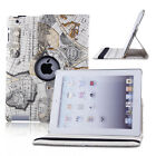 360 Rotating Leather Cover Map Style Case Skin For Apple iPad 2/3/4 mini Air1 2
