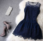 Elegant Womens Summer Sleeveless Floral Lace Organza Slim Princess Mini Dress