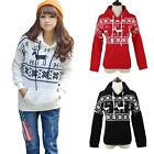 Women Hoody Christmas Xmas Snowflake Jumper Top Pullover Sweatshirt Sweater New
