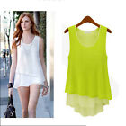 Eye Catching Women Irregular Hem Chiffon Sleeveless T-Shirt Vest Top Blouse FOUK