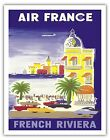 France French Riviera Côte d'Azur Vintage Airline Travel Art Poster Print Giclee