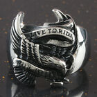 """Men's Stainless Steel Eagle Hawk """"Live To Ride,Ride To Live"""" Biker Finger Rings"""