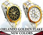 Orlando  Mens Watch Sports Analog Stainless Steel Wrist Golden Flake Uk