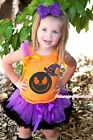 Jack Witch Hat Orange Top Halloween Purple Black Pettiskirt Girl Outfit Set 1-8Y