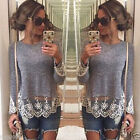 New Lace Womens Ladies Fashion Long Sleeve Vest Tops T-Shirt Casual Blouse
