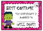 Halloween Party Prize Award Certificate for Adults Children Kids & Gift