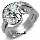 Stainless Steel 1.38 Ct Round & Bagguete Cz Wedding Ring Set Women's Size 5-10