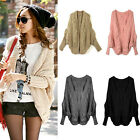 New Women Knitted Cardigan Sweater Batwing Sleeve Asymmetric Hem Coat Jacket