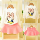 Lovely Girls Donald Duck Long Sleeve T-shirt+Skirt Two-piece Dress Casual Outfit
