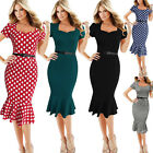 Women Short Sleeve Business Office Party Cocktail Bodycon Mermaid Pencil Dress