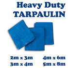 4 Sizes of Heavy Duty Tarpaulin Blue Waterproof Strong Cover Ground Sheet Tarp