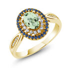 1.60 Ct Oval Natural Green Amethyst 18K Yellow Gold Plated Silver Ring