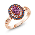 1.45 Ct Oval Pink Tourmaline 18K Rose Gold Plated Silver Ring