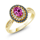 1.60 Ct Oval Pink Created Sapphire 18K Yellow Gold Plated Silver Ring