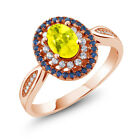 1.55 Ct Oval Canary Mystic Topaz 18K Rose Gold Plated Silver Ring