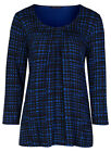 Marks & Spencer Womens Soft New Check Tops M&S 3/4 Sleeve Pleated T-Shirt Tee