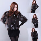 Top Sale Women Real Farm Fox Fur Waistcoat Short Coat Jacket Short Sleeve Gilet