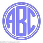 """Double Circle Monogram 3 Letter Decal Sticker 4"""" Choose your Color No Background"""