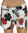 GAT Hawaiian Swimming White Beach Board Shorts for Women - Pualoalo