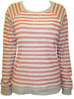 New M&S Woman Grey & Rust Striped Casual Cotton Jumper Plus Size 18 20 FREE POST