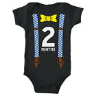 Boys Two Months Bow Tie and Suspenders Infant Bodysuit