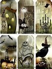 12 HALLOWEEN GRAVEYARD CROWS CATS HANG / GIFT TAGS FOR SCRAPBOOK PAGES (01)