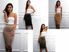 Glamzam New Womens Ladies Faux Suede Midi High Waisted Dress Pencil Party Skirt
