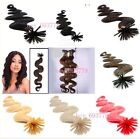 "22"" 100S Stick Tip Bonded Fusion Micro Remy Human Hair EXTENSION Wavy & Deep"