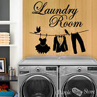 Laundry Room Clothesline Vinyl Art Home Wall Quote Decal Sticker Decoration