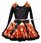 I Have Daddy Under Spell Halloween Black Top Spider Web Skirt Girl Outfit 1-8Y