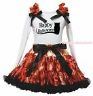 Happy Halloween Cat White Shirt Top Orange Spider Web Skirt Girl Outfit Set 1-8Y