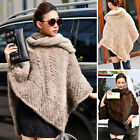Women100% Real Farm Knitted Mink Fur Poncho Cape Coat Outwear Stole Sale Tops