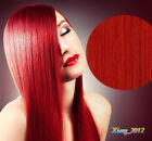 """Hot 18""""-26"""" Remy Real Human Hair Extensions Weave Weft Straight 100g # Red"""