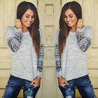 Hot Women Long Sleeve Shirt Casual Lace Blouse Loose Cotton Tops T-Shirt Autumn