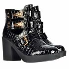 WOMENS GIRLS CUT OUT ANKLE CHELSEA BOOT STRAPS BUCKLES STUDS BLACK SHOE SIZE