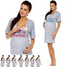 Zeta Ville - Women's Maternity Nursing Nightdress LOVE YOU Print Gown - 193c