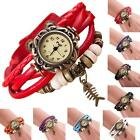Quartz Bracelet Watch Ladies Woman Weave Around Leather Fishbone WristWatch Gift